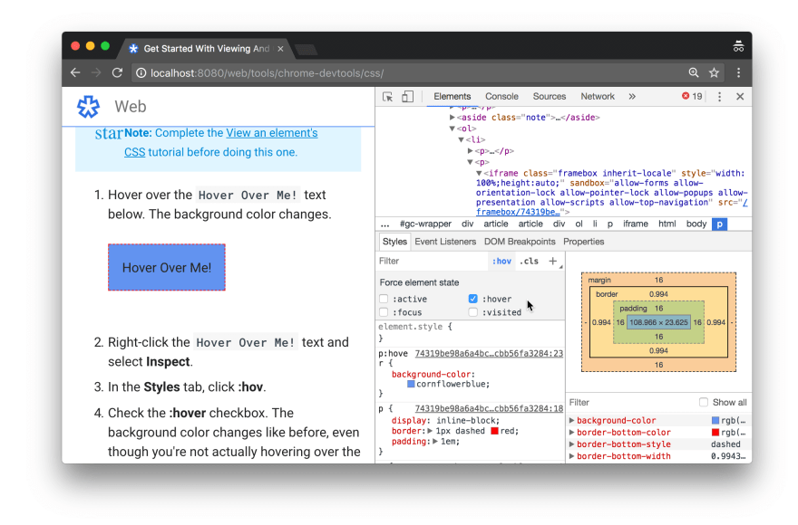 Chrome inspector showing CSS styles.