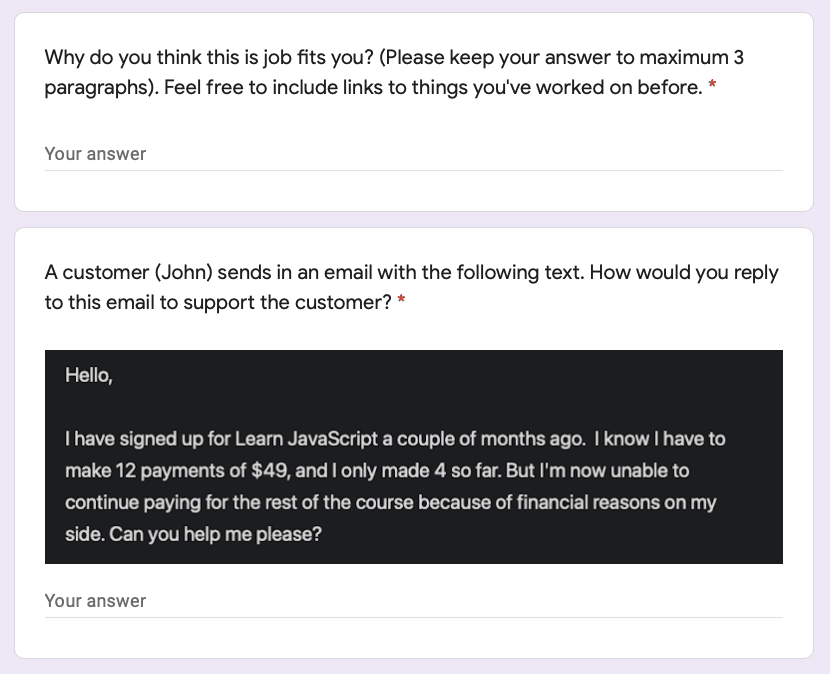 Google forms written application with two questions