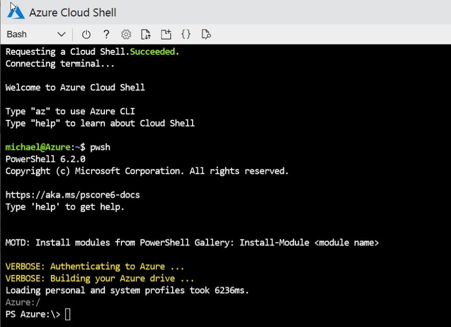 Switching from Bash to PowerShell in Cloud Shell