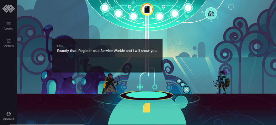 Screen grab showing the serviceworkies game play