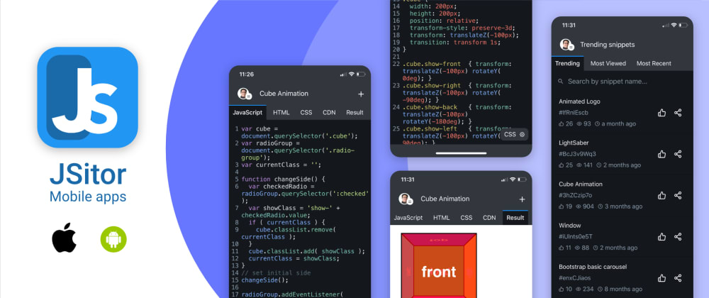 Cover image for JSitor Mobile App, an alternative of JSFiddle, CodePen and JSBin