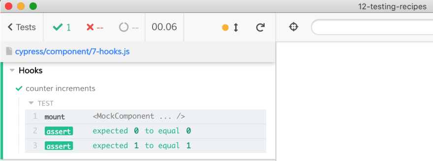 Testing a component with hooks