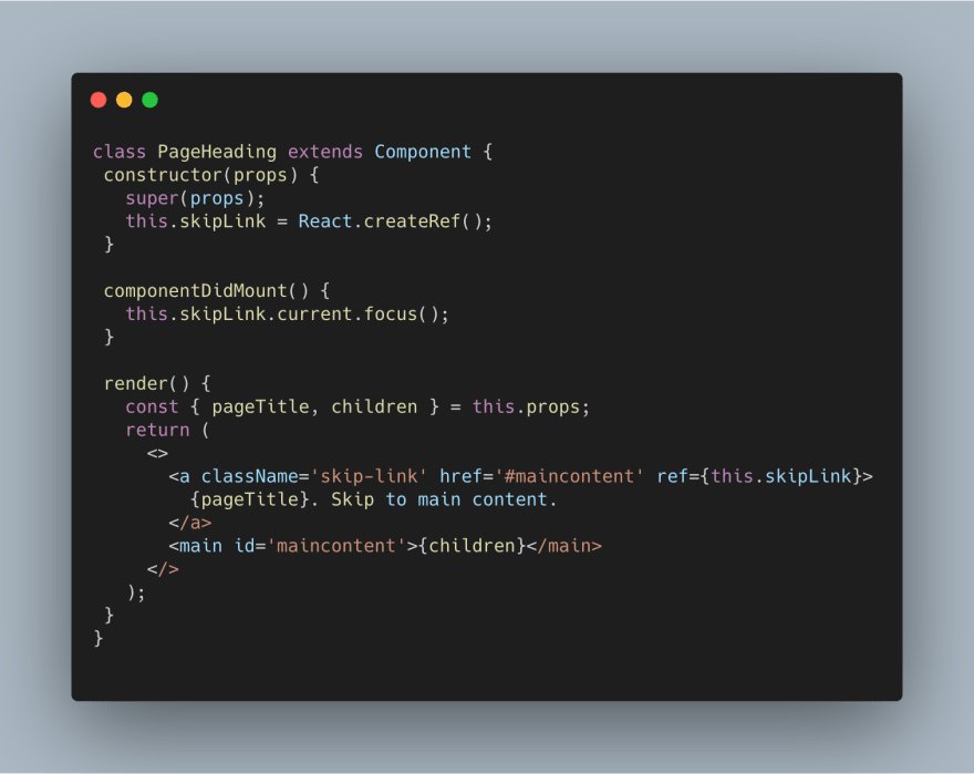Code snippet of a React component