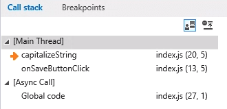 Call stack Internet Explorer Debugging