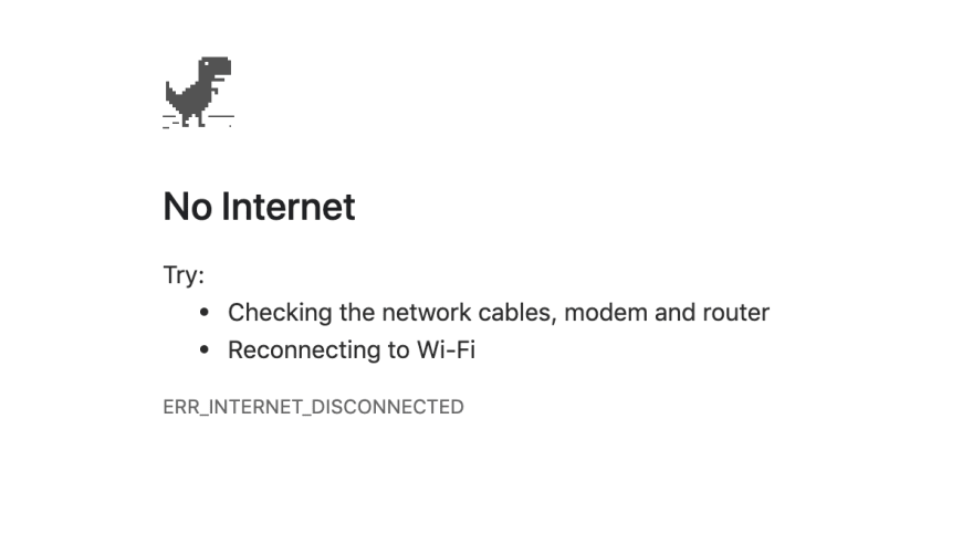 No internet error