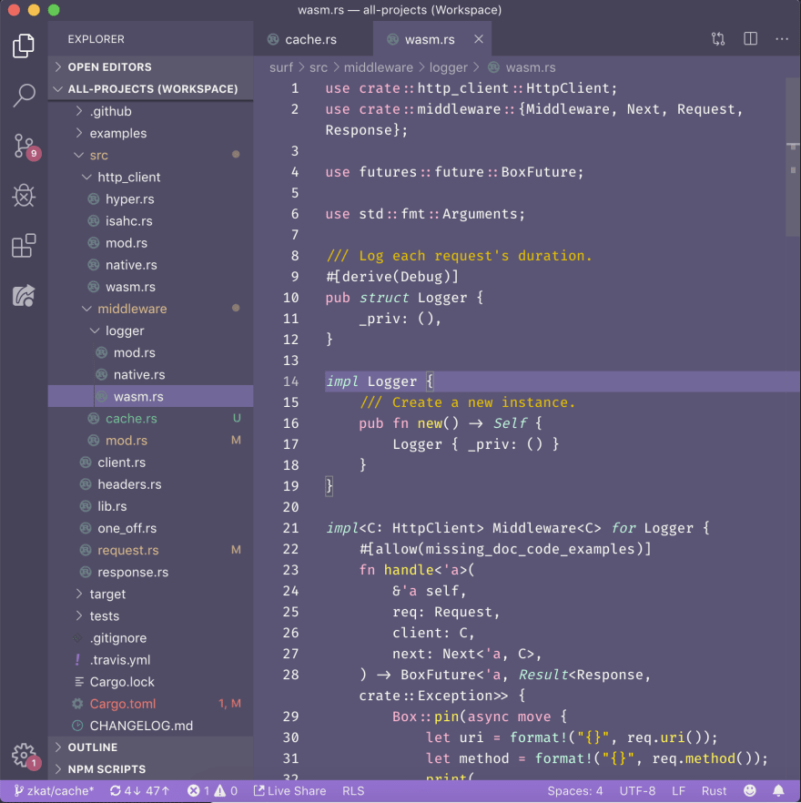 Screenshot of a girly, purple-ish text editor theme with source code visible