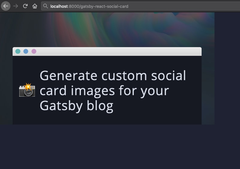 Social card page being rendered