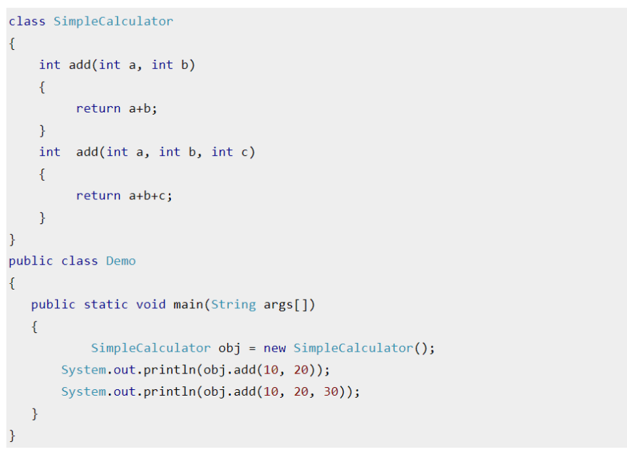 Code Snippet for Overloading