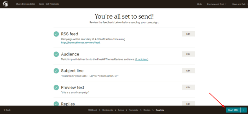 Choose Start RSS to start sending email.