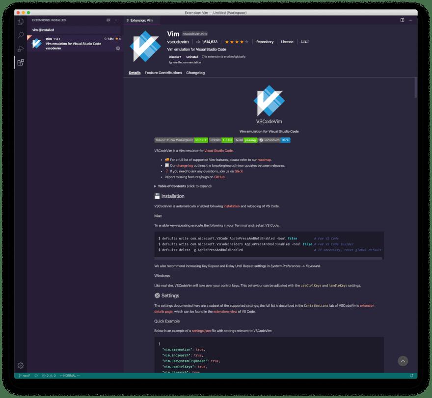 VSCodeVim extension for VS Code