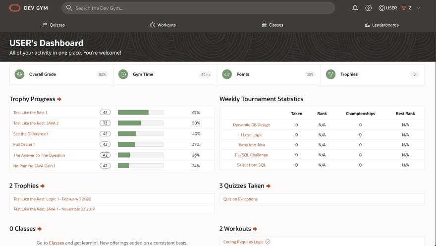 Oracle DEV GYM dashboard
