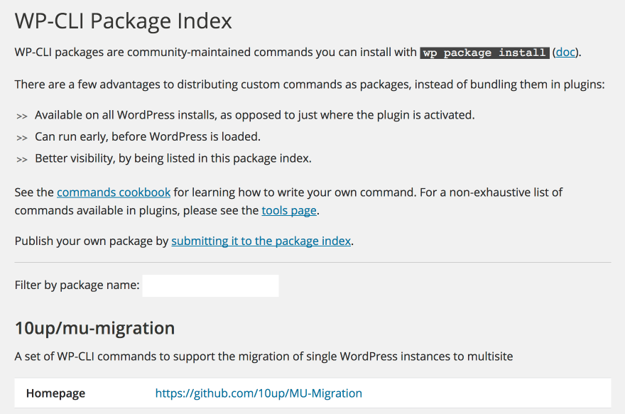 The WP-CLI Community Packages web page.