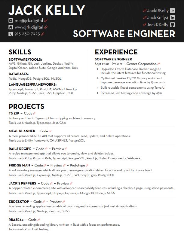 Jack Kelly's Resume