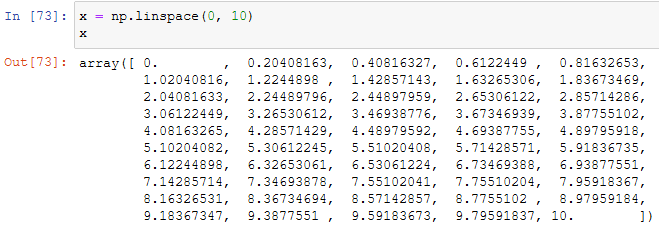 creating an array with the linspace numpy function
