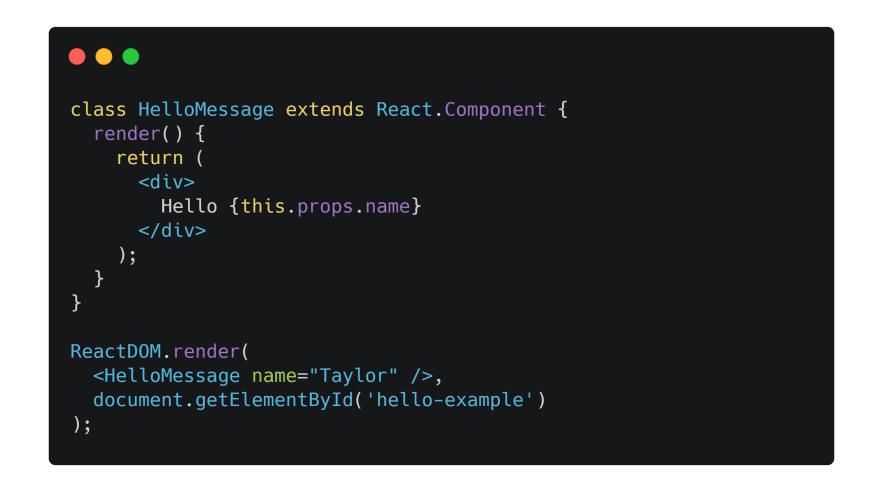 Simple React component using JSX