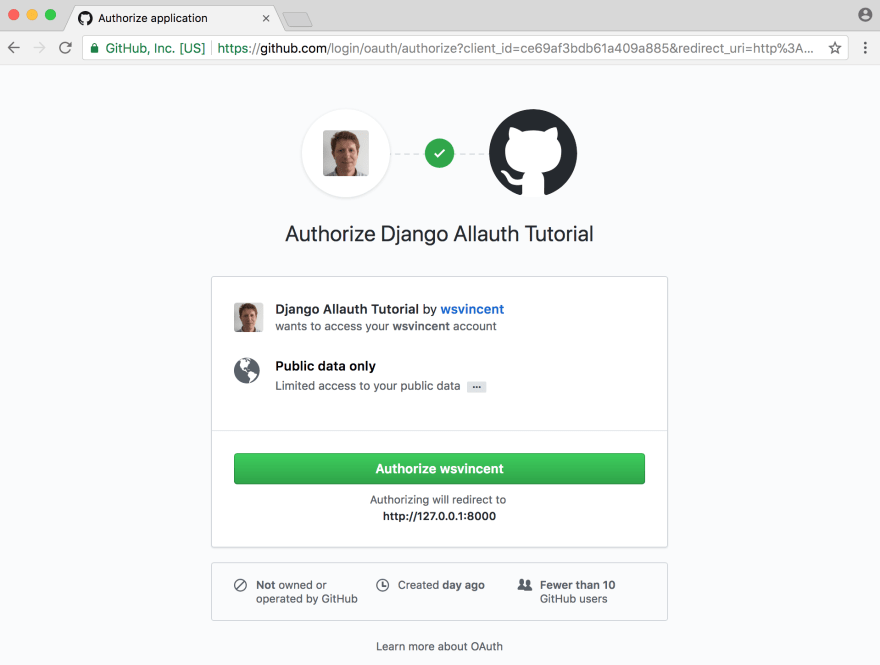 Github authorize page