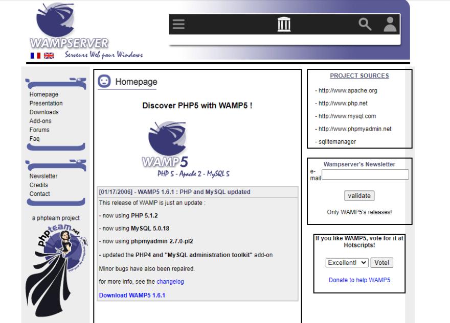 Wamp old webpage screnshot