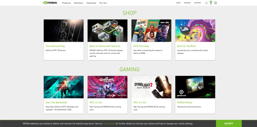 NVIDIA website section