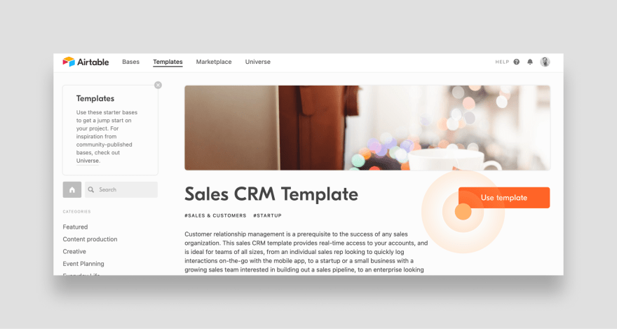 Add the sales CRM template