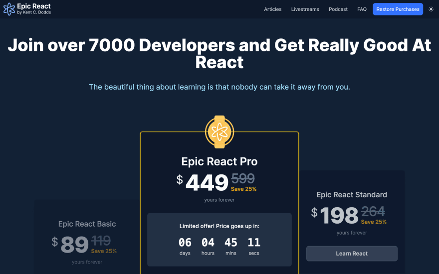 Epic React - Code-along Interactive Workshops - 25% OFF