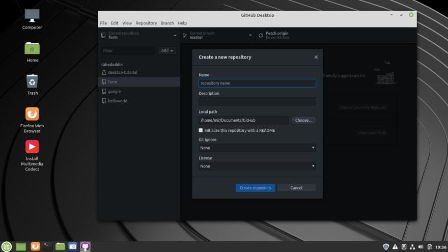 Github Desktop create repository