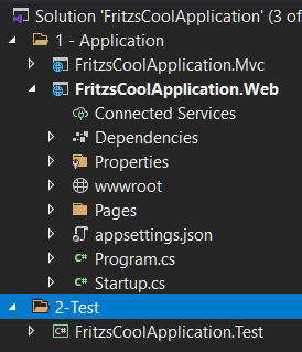 Solution Folders with Unit Test project introduced