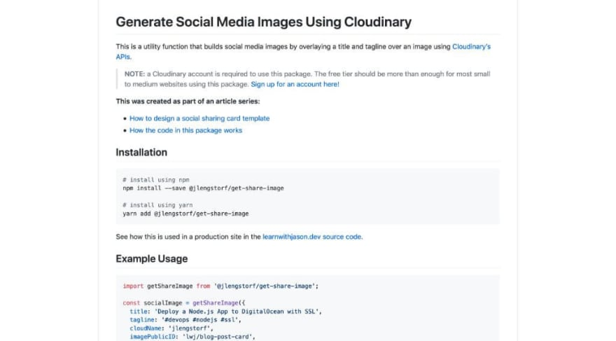 Generate Social Media Images Using Cloudinary