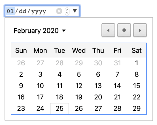 Default date picker on Chrome