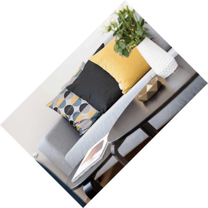 Rotated Image of a Sofa, Coffee Table, and Pillows