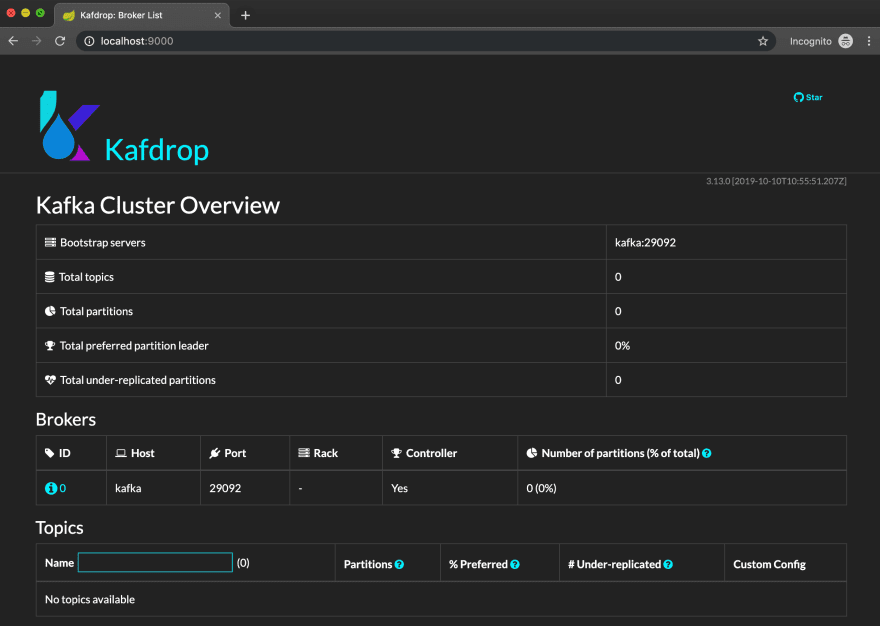 Kafdrop – Kafka Web UI