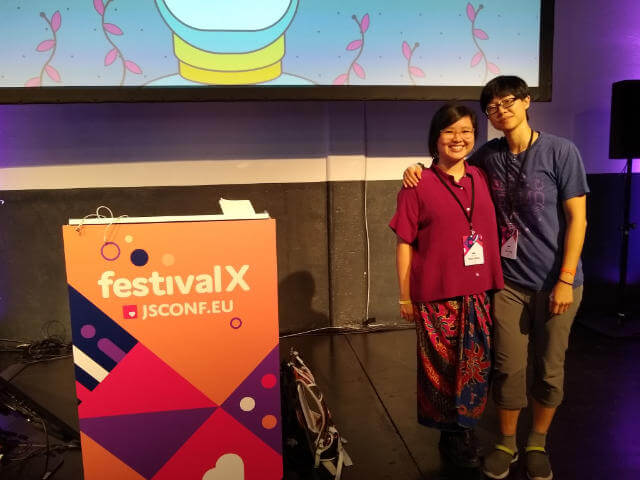 With Sher Minn before her talk at JSConf EU