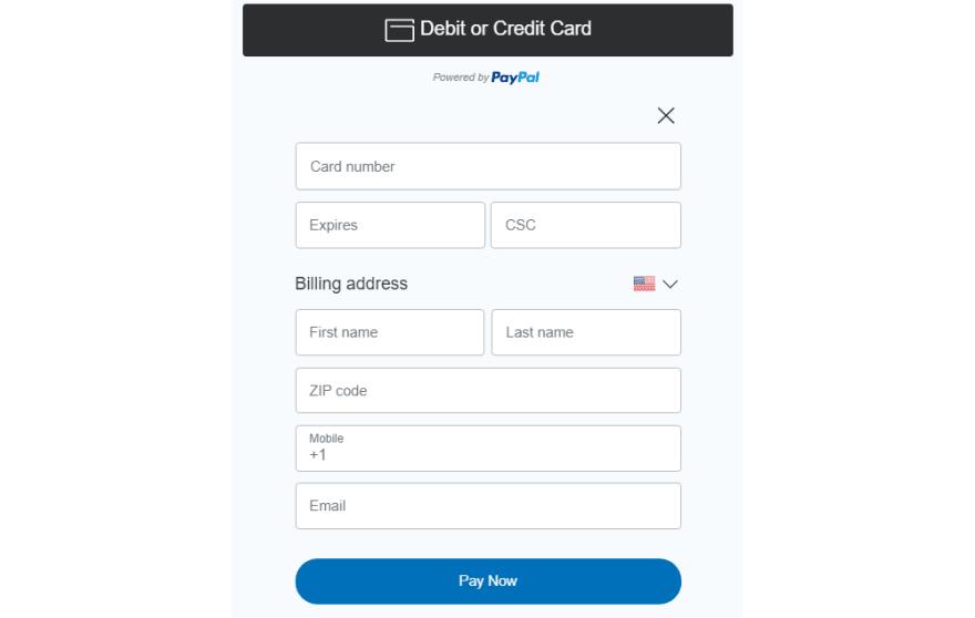 PayPal Standard Card Fields