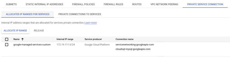 Allocated IP ranges for services