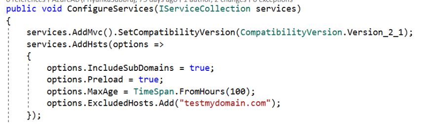 overriding a few options when configuring HSTS.