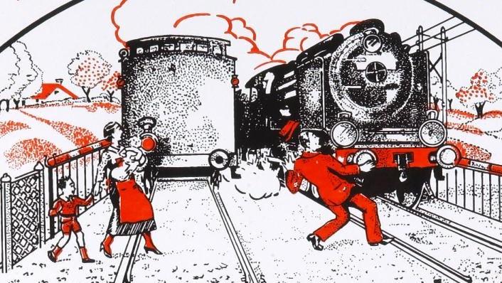 Look both ways when crossing the railway.