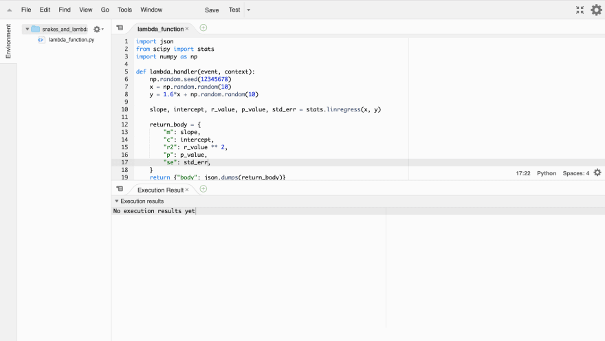 aws console lambda editor