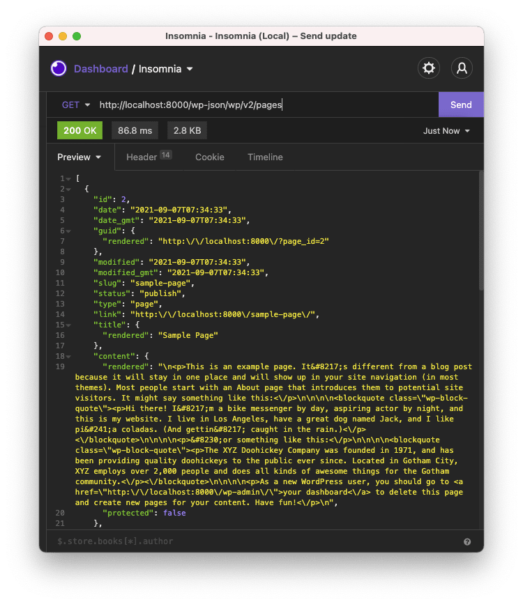 WordPress page API
