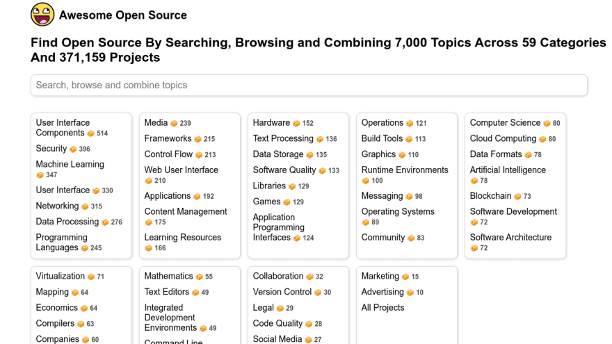 Find Open Source By Searching, Browsing and Combining 7,000 Topics