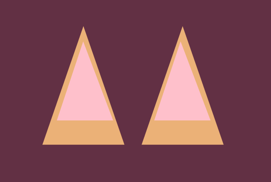 In progress CSS image - pink triangles overlayed on the orange triangles, side by side