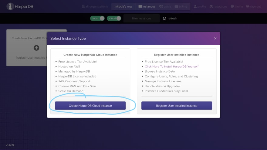screen to select the cloud instance
