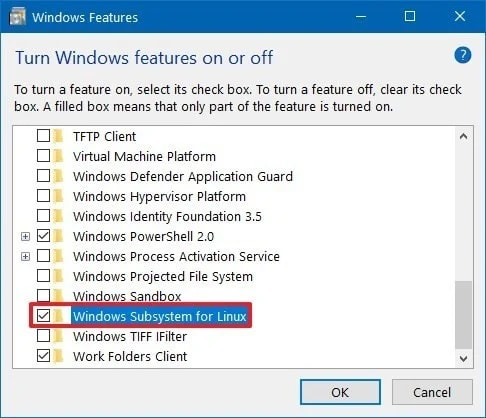Turn Windows features on or off Menu