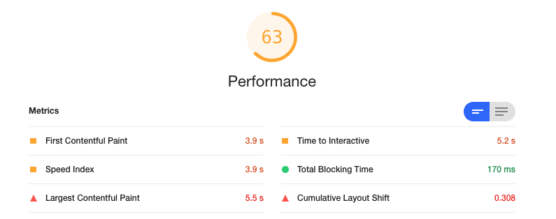 Screenshot of Lighthouse performance audit results.