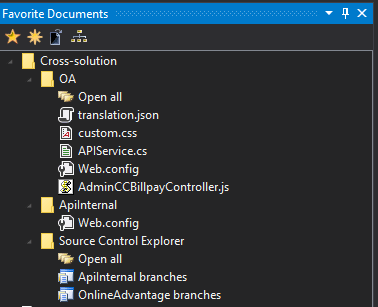 Favorite Documents menu with cross-solution favorites