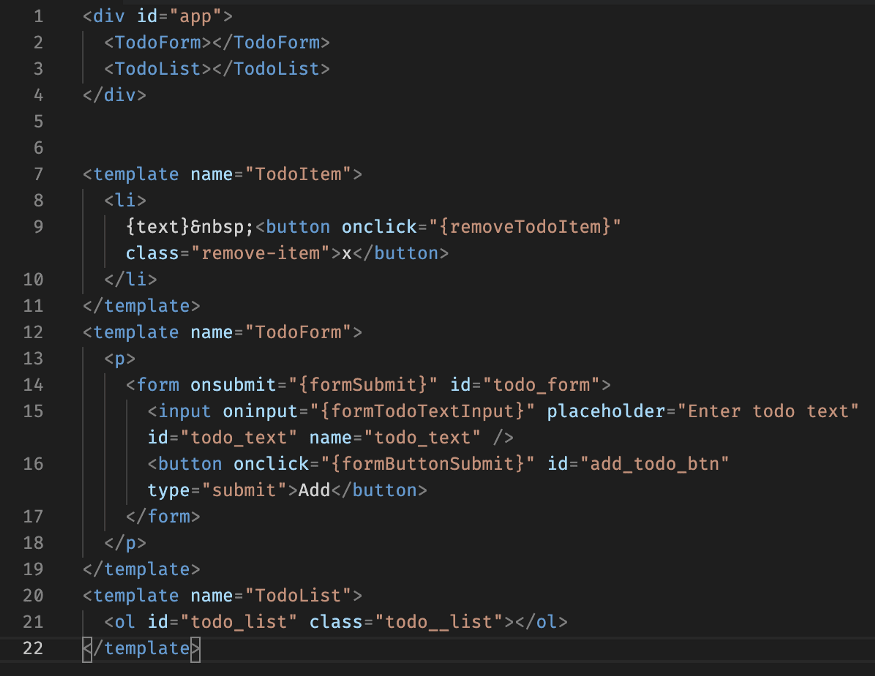 HTML source before processing with our simple React