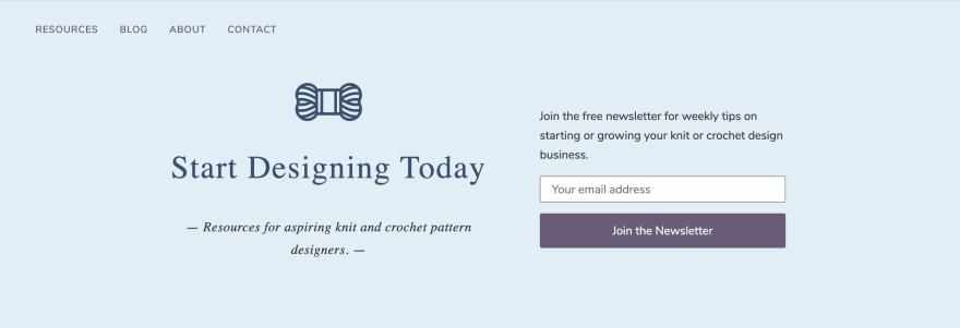A screenshot of the header found at startdesigningtoday.com.