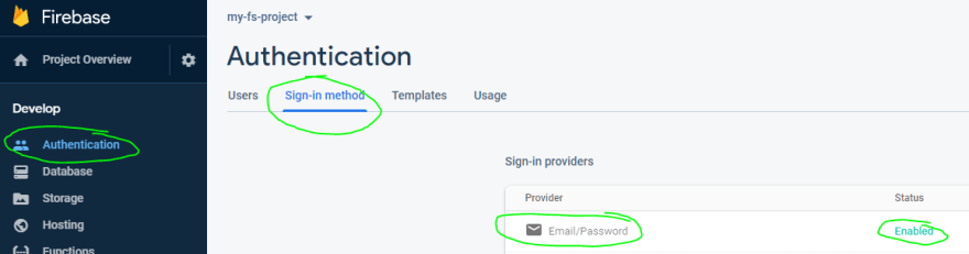 Enabling email/password sign-ins