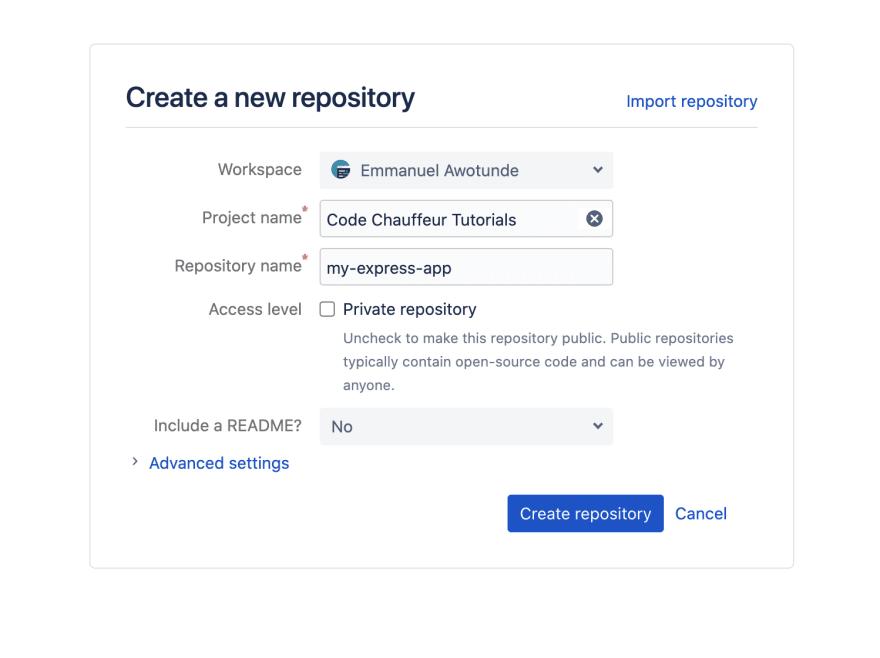 Creating bitbucket repository