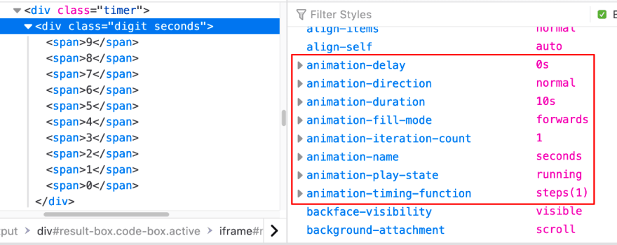 Animation properties in DevTools