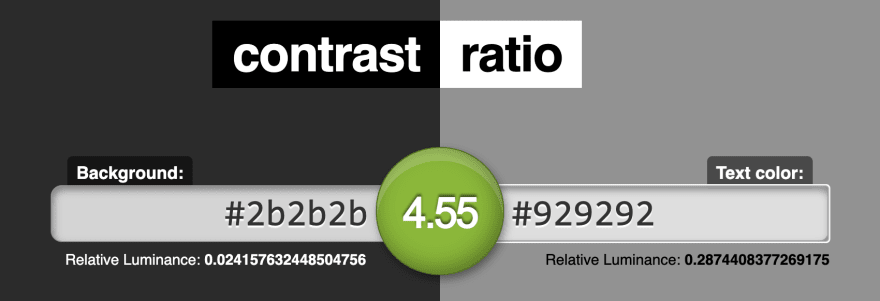 Contrast-ratio.com's screenshot showing that the luminance contrast between #2b2b2b and #929292 is 4.55
