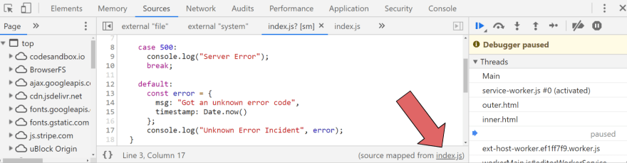 How to get to the transpiled code from the Chrome Console